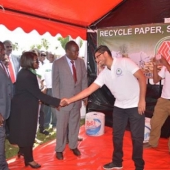 Adil Rafik from our Papermill with Prof. Judi Wakhungu, CS for Environment and Natural Resources