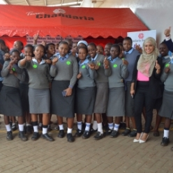 KYDF Secondary School Girls with Neer Chandaria, Sales & Marketing Director and the marketing team