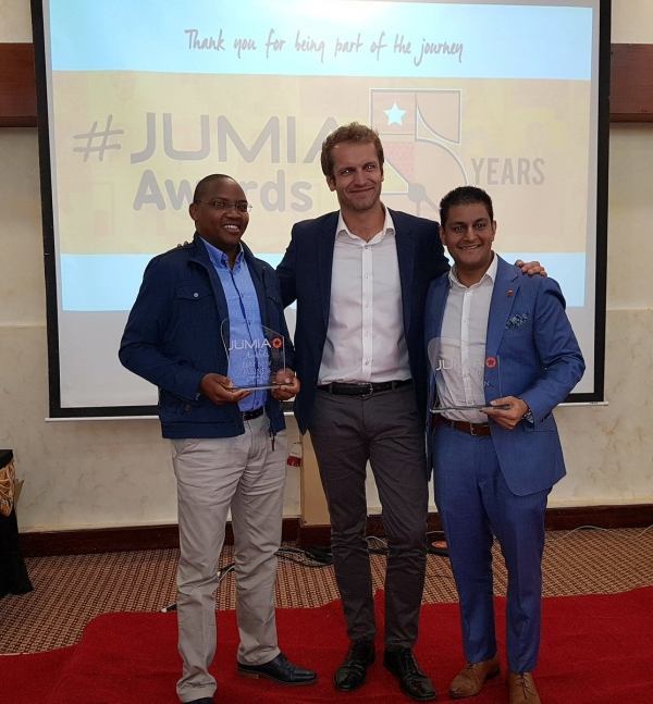Group CEO, Darshan Chandaria with Jumia CEO Sam Chappatte and Tuskys CEO Dan Githua
